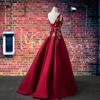 Elegant Satin Long Party Dress With Lace Applique, Dark Red Long Prom Dress   cg15679