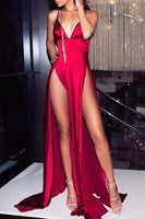 sexy straps deep v neck red long evening dress with slits, party dress, formal evening dress cg1567