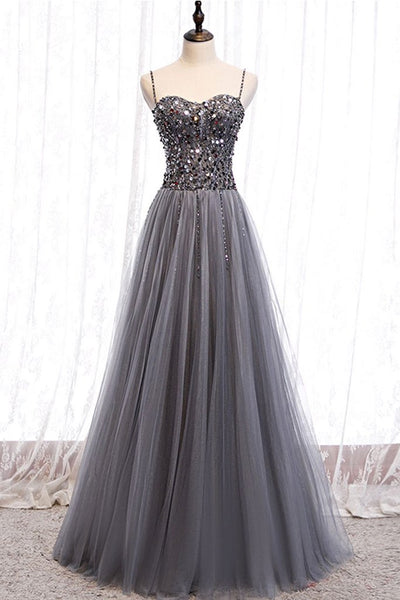 GRAY TULLE SWEETHEART NECK SEQUIN LONG PROM DRESS GRAY FORMAL DRESS   cg15684