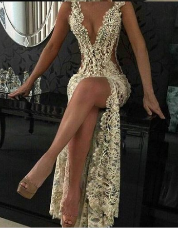 Custom Charming Gold Beading Lace Prom Dress,Sexy Deep V-Neck Evening Dress  cg1568