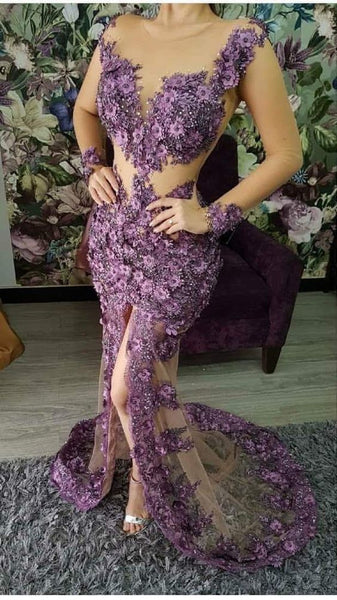 Purple Mermaid Long Prom Dress, Charming Prom Dress    cg15696