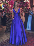 A line V-neckline Prom Gown,Royal Blue Evening dress cg1572