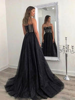 Charming A-Line Sweetheart Black Tulle Long Prom Dresses,Glitter Evening Party Dresses   cg15732
