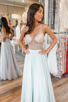 Beaded See Through White Long Prom Dress   cg15733