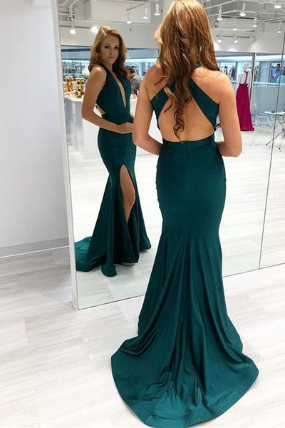 Sexy Gorgeous Dark Green Mermaid Cross Back Prom Dresss   cg15756