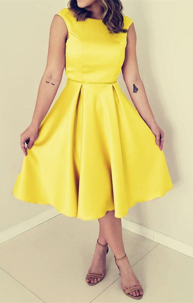yellow satin tea length homecoming dresses cg1575