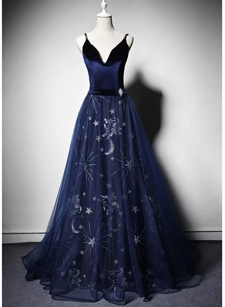 Beautiful Navy Blue Straps Velvet Long Prom Dress, Tulle Blue Evening Gown   cg15778