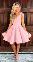 cute pink homecoming dress satin v neck cg1577