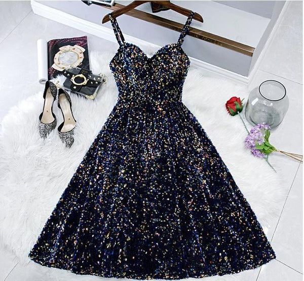Glitter Spaghetti Straps Back Open Short Dresses Tight Tea Length Homecoming Dress for Teens   cg15784
