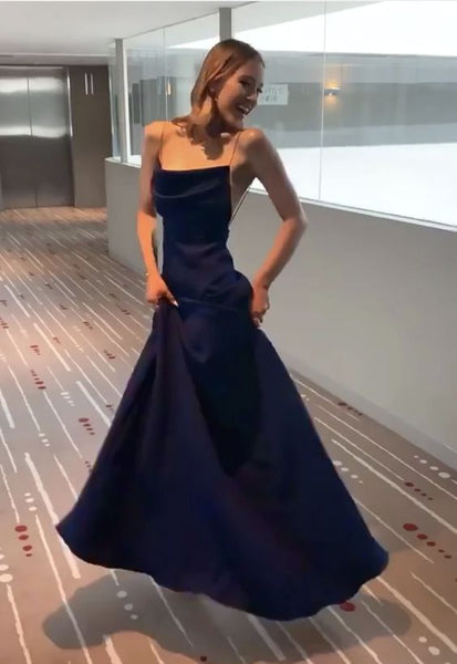 Navy Blue Spaghetti Straps Sheath Full Length Formal Gown,Blue Prom Dress Evening Gown   cg15785