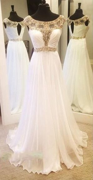 Charming Prom Dress,White Prom Dress,Chiffon Prom Dress,Beading Sleeveless Evening Dress   cg15788