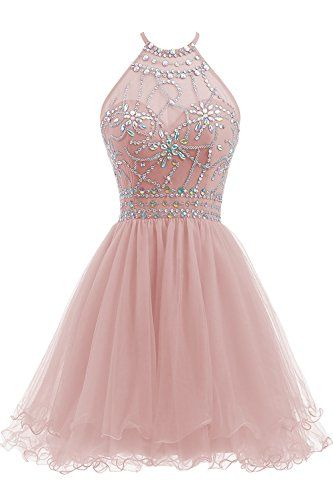 Beaded Halter Homecoming Dress Short Tulle dress  cg1578