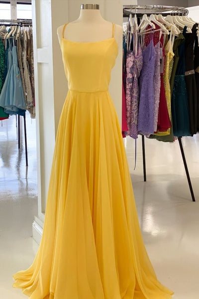 Simple Yellow Dress Long Prom Dresses     cg15796