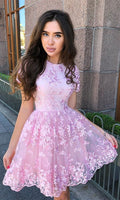 A-Line Crew Short Sleeves Short Pink Homecoming Dress with Appliques cg1579