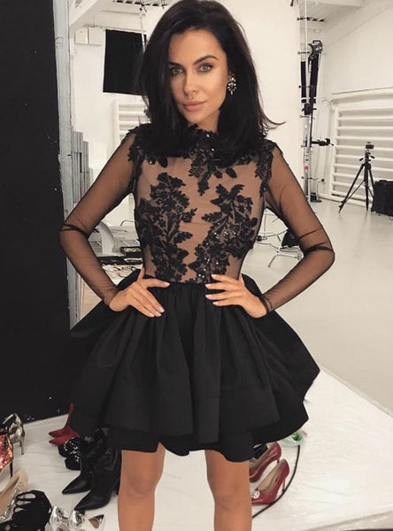 A-line Black Satin Appliques Long Sleeve Short Homecoming Dress cg157
