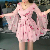 Floral Print Flared Sleeve Pleated Chiffon Dress ,cheap homecoming dress cg158