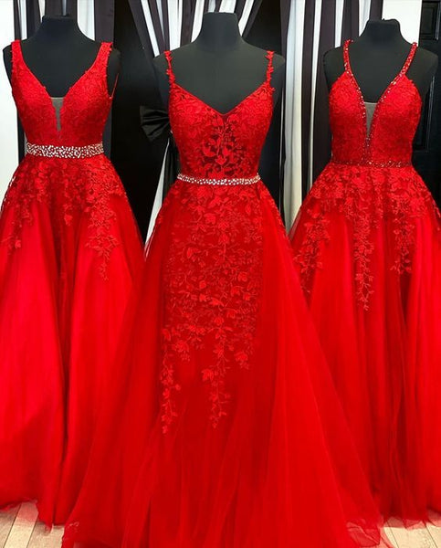 A-line Red Beaded Tulle Gown Prom Dresses   cg15807