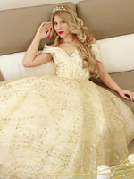 Exquisite Ivory Princess Dress Gold Sequins Ball Gown Prom Dresses   cg15808