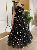 Black tulle sequins short prom dress with stars    cg15810