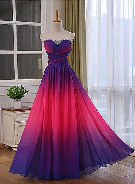 Pretty Gradient Sweetheart Beaded Long Party Dress, Pink And Purple Evening Dress    cg15815