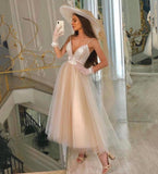 CHAMPAGNE V NECK TULLE SHORT PROM DRESS EVENING DRESS     cg15816