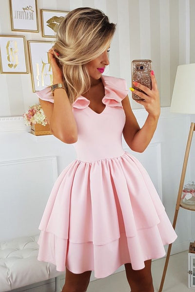 A-Line V-Neck Cap Sleeves Above-Knee Pink Tiered Homecoming Party Dress cg1581