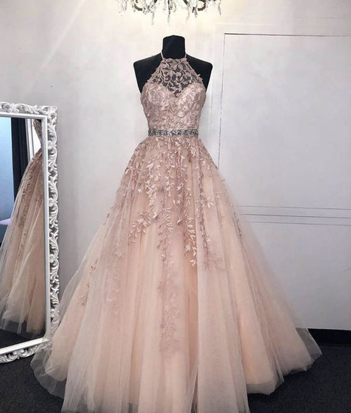 Pink tulle lace long prom dress evening dress    cg15835