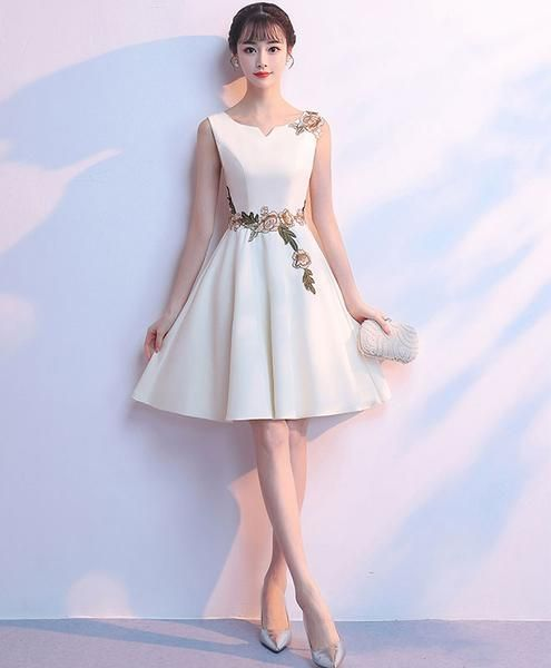 Simple white satin applique short dress, cute homecoming dress cg1584