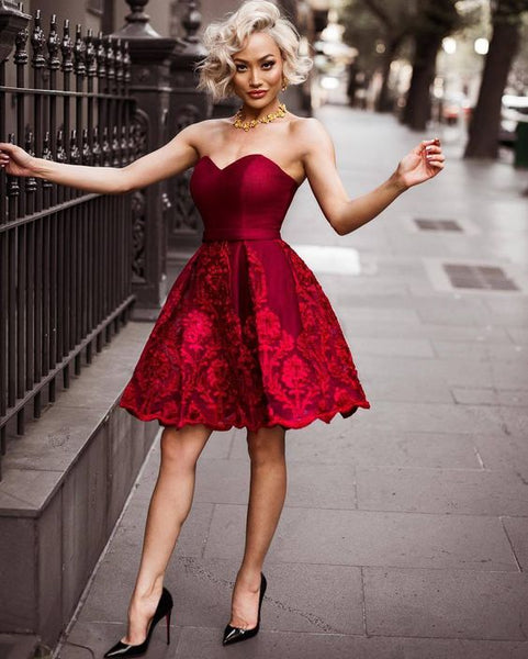 Burgundy Homecoming Dress Lace Party Cheap Homecoming Dress cg1591