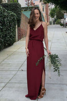 V-Neck Floor-Length Burgundy prom Dress cg1595