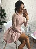 Long Sleeves Homecoming Dress , Pink Satin Homecoming Dress , Short Homecoming dress cg15