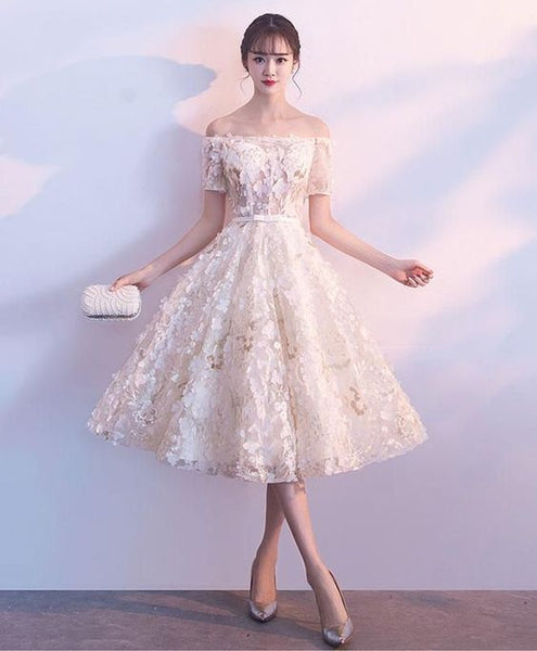 Cute champagne short dress, homecoming dress cg1600