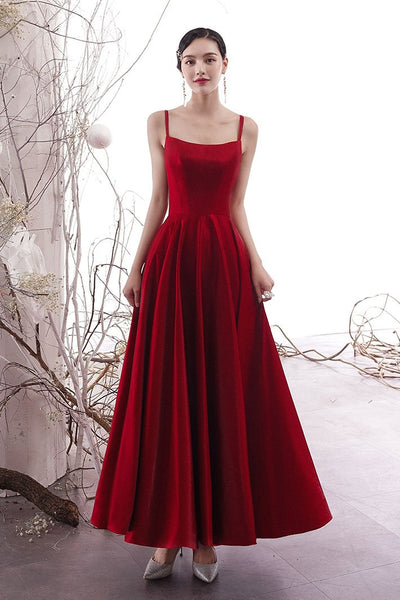 Simple burgundy satin prom dress, burgundy evening dress cg1608