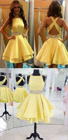 Yellow Cross Back Homecoming Dress Short Cute Party Dress With Beading cg161