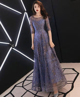 Blue round neck tulle lace long prom dress, lace evening dress cg1611