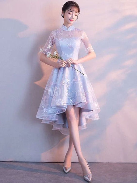 Light Grey Cocktail Dresses Stand Collar Half Sleeve Short homecoming Dress Asymmetrical Graduation Dress cg1615