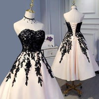 Tea Length Champagne and Black Lace Wedding Party Gown Formal homecoming dress  cg1616
