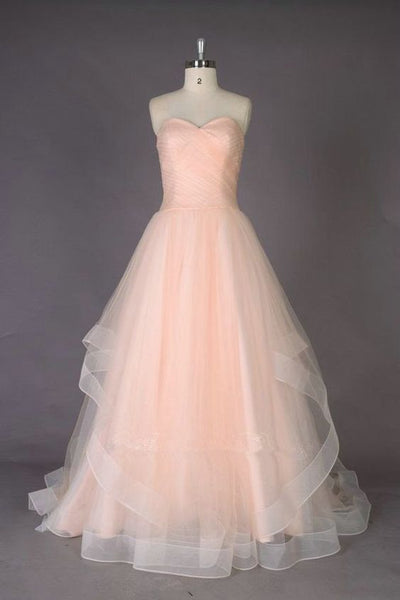 Soft Pink Floor Length Organza Prom Gowns Evening Dresses cg1621