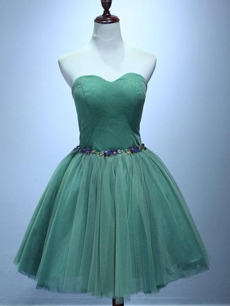 A-Line Sweetheart Green Tulle Homecoming Dresses With Lace Up Back cg1629