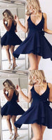 A-Line V-Neck Navy Blue Homecoming Dress with Sash cg163