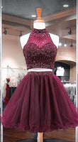 Burgundy Two Piece Homecoming Dress, Beading Stylish Short Tulle Party Gowns cg1630