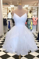 White tulle layered V neck short homecoming dress, white A line party dress cg1634