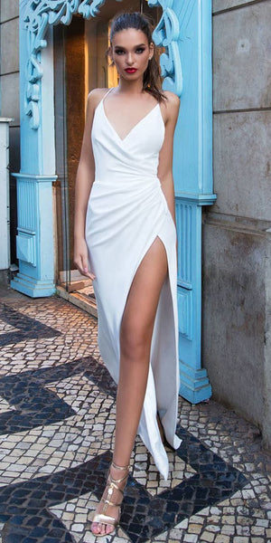 Sexy Stretch Chiffon Spaghetti Straps Neckline Sheath/Column prom Dress With Slit cg1647