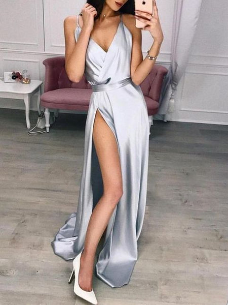 gray party dress v neck evening dress spaghetti straps formal dress high split prom dress cg1648