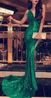 Royal Blue Mermaid Prom Dress Sequin Backless Evening Gowns  cg1649