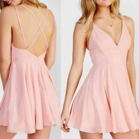 Cute A-Line V-Neck Cross-Criss Pink Short Homecoming Dress cg164