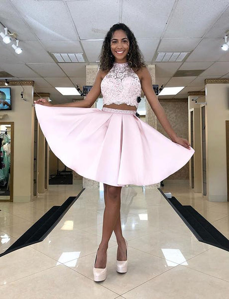 Stylish Two Piece Pink Short Homecoming Dresses With Appliques cg1651