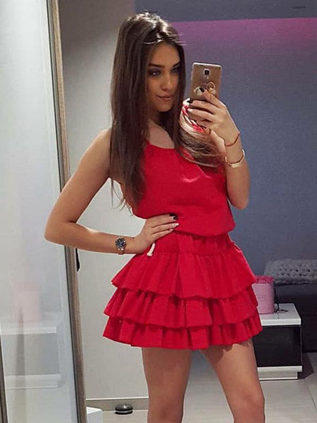 A-Line Scoop Neckline Sleeveless Red Short Cheap Homecoming Dresses cg1653