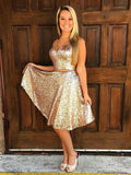 A-Line V-Neck Sleeveless Two Pieces Gold Sequined Homecoming Dresses cg1654