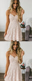 A-Line V-Neck Spaghetti Straps Lace Cheap Short Homecoming Dresses cg1656